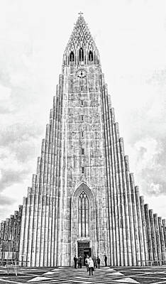 Photograph - Hallgrimskirkja Cathedral - B And W by Allen Beatty