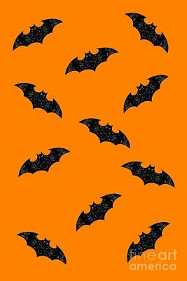 Mixed Media - Halloween Bats In Flight by Rachel Hannah