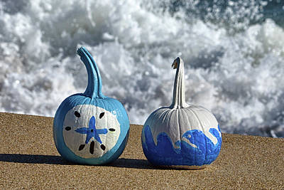 Photograph - Halloween Blue And White Pumpkins On The Beach by Bill Swartwout Fine Art Photography