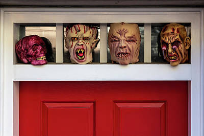 Photograph - Halloween Decorations In Doorway by Robert Ullmann