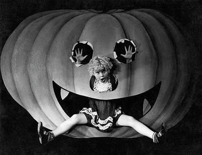 Photograph - Halloween Girl And Her Pumpkin by American School