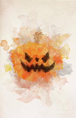 Photograph - Halloween Scary Pumpkin In Watercolor Painting. by Michal Bednarek