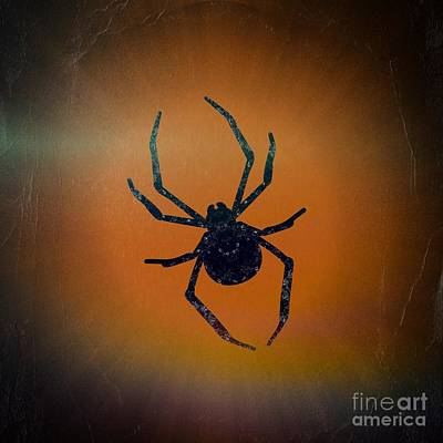 Art Print featuring the mixed media Halloween Spider  by Rachel Hannah