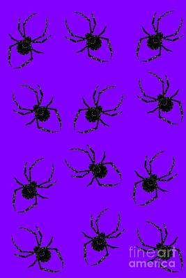 Mixed Media - Halloween Spiders Creeping by Rachel Hannah
