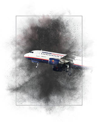 Mixed Media - Hamburg International Airbus A319-111 Painting by Smart Aviation