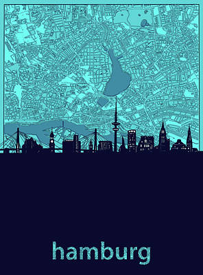 Royalty-Free and Rights-Managed Images - Hamburg Skyline Map Turquoise by Bekim M