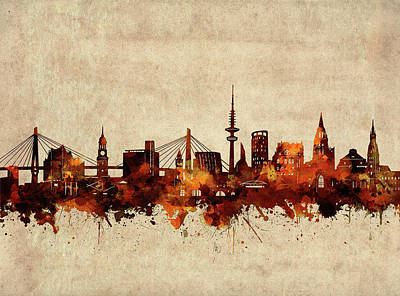 Abstract Skyline Royalty-Free and Rights-Managed Images - Hamburg Skyline Sepia by Bekim M