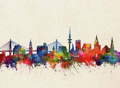 Abstract Skyline Royalty-Free and Rights-Managed Images - Hamburg Skyline Watercolor by Bekim M