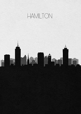 Digital Art - Hamilton Cityscape Art by Inspirowl Design