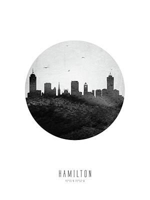 Digital Art - Hamilton Skyline CAONHA04 by Aged Pixel
