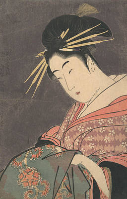 Relief - Hanaogi Of The Gomeiro by Kitagawa Utamaro