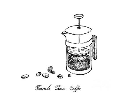 Animal Watercolors Juan Bosco - Hand Drawn of French Press with Coffee Beans by Iam Nee