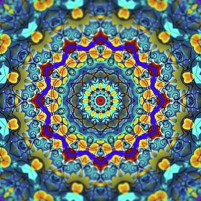 Digital Art - Hand Drawn Sea Green With Swirls Kaleidoscope by Cindy Boyd