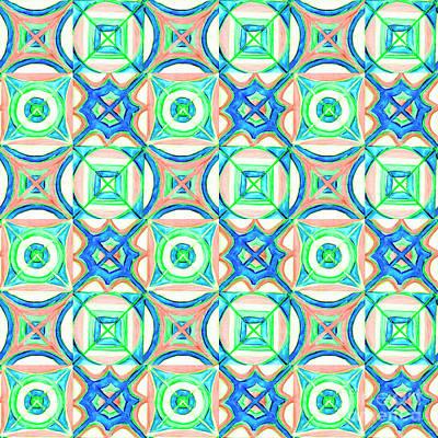 Painting - Hand-drawn Watercolor Seamless Pattern. Blue, Orange, Green. by Irina Dobrotsvet