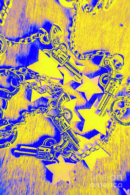 West Photograph - Handguns, Chains And Handcuffs by Jorgo Photography - Wall Art Gallery