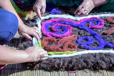 Lego Art - Hands of women traditional felt making by Karen Foley