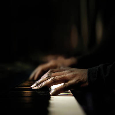 Musicians Royalty-Free and Rights-Managed Images - Hands playing piano close-up by Johan Swanepoel