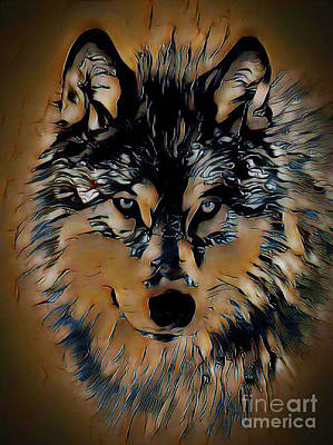 Digital Art - Handsome Wolf by Kathy Kelly