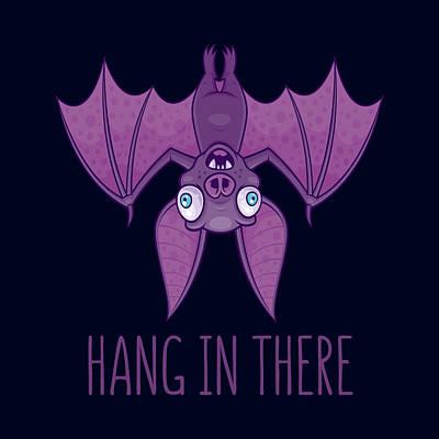 Animals Digital Art - Hang In There Wacky Vampire Bat by John Schwegel