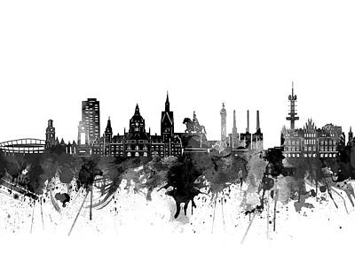 Abstract Skyline Royalty-Free and Rights-Managed Images - Hannover Skyline Bw by Bekim M