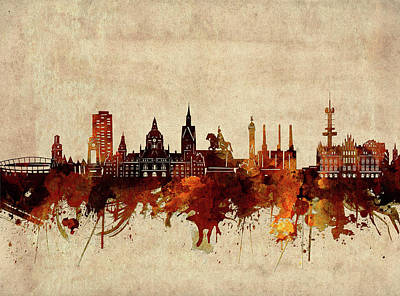 Abstract Skyline Royalty-Free and Rights-Managed Images - Hannover Skyline Sepia by Bekim M