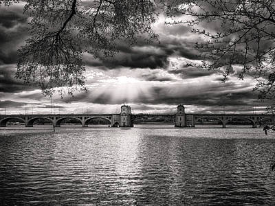 Photograph - Hanover Street Bridge Sunset Black And White by Bill Swartwout Photography