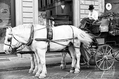 Photograph - Hansom Cab At Piazza Della Repubblica Florence by John Rizzuto