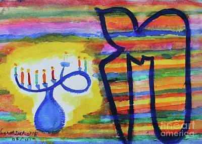 Painting - Hanukkah  by Hebrewletters Sl