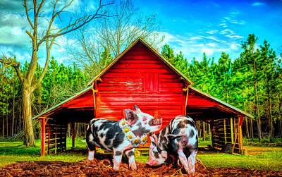 Digital Art - Happiness On The Farm by Debra and Dave Vanderlaan