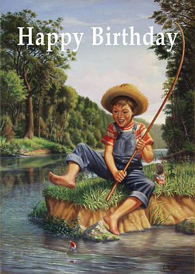Painting - Happy Birthday Greeting Card - Boy In Overalls With Cane Pole Fishing by Walt Curlee
