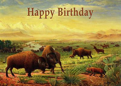 Painting - Happy Birthday Greeting Card - Buffalo Great Plains Prairie Western Landscape by Walt Curlee