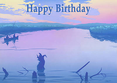 Painting - Happy Birthday Greeting Card - Canoeing On The River Sunset Landscape by Walt Curlee