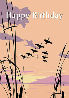 Painting - Happy Birthday Greeting Card - Ducks Flying At Sunset by Walt Curlee