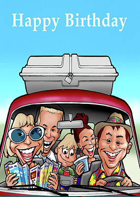 Painting - Happy Birthday Greeting Card - Family Driving In Car Cartoon by Walt Curlee