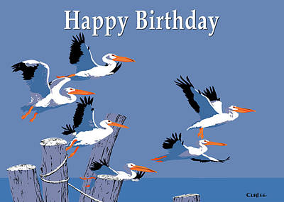 Painting - Happy Birthday Greeting Card - Flying Pelicans Seascape by Walt Curlee