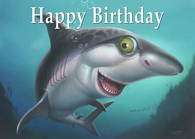 Painting - Happy Birthday Greeting Card - Friendly Shark Cartoon by Walt Curlee