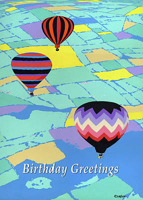 Painting - Happy Birthday Greeting Card - Hot Air Balloons by Walt Curlee
