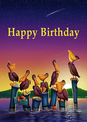 Digital Art - Happy Birthday Greeting Card - Pelicans Cartoon Sunset Seascape #2 by Walt Curlee