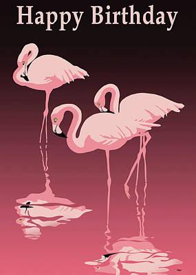 Digital Art - Happy Birthday Greeting Card - Pink Flamingos by Walt Curlee