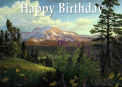 Painting - Happy Birthday Greeting Card - Spring Wildflowers Western Mountain Landscape by Walt Curlee