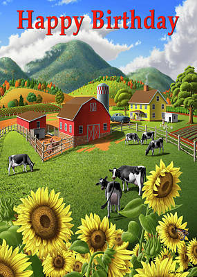 Painting - Happy Birthday Greeting Card - Sunflowers Cows Farm Animals Landscape by Walt Curlee