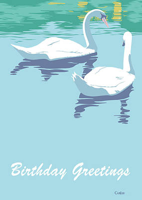 Painting - Happy Birthday Greeting Card - Two Swans On Lake by Walt Curlee