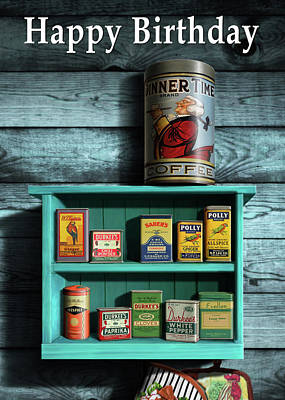 Digital Art - Happy Birthday Greeting Card -vintage Spice Rack And Spice Tins Cans Still Life #1 by Walt Curlee