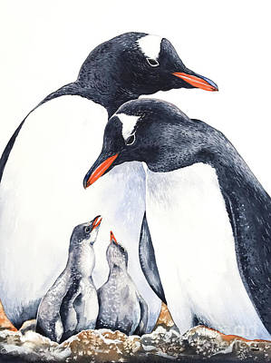 Painting - Happy Gentoo Family by Zaira Dzhaubaeva