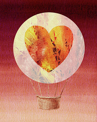 Royalty-Free and Rights-Managed Images - Happy Heart Hot Air Balloon Watercolor VIII by Irina Sztukowski
