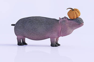 Digital Art Rights Managed Images - Happy Hippo and Pumpkin Royalty-Free Image by Betsy Knapp