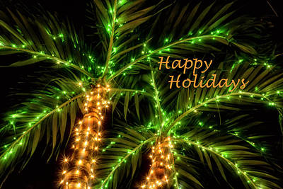 Photograph - Happy Holidays Palm Trees by Louise Lindsay