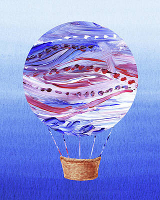 Royalty-Free and Rights-Managed Images - Happy Hot Air Balloon Watercolor V by Irina Sztukowski