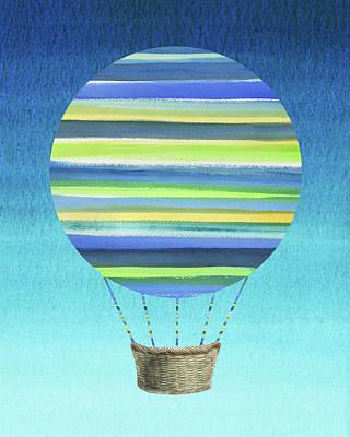 Royalty-Free and Rights-Managed Images - Happy Hot Air Balloon Watercolor XI by Irina Sztukowski
