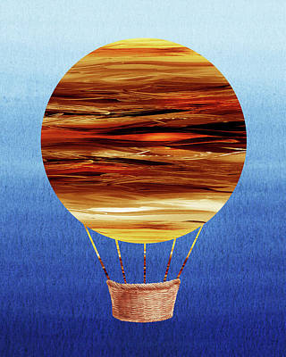 Royalty-Free and Rights-Managed Images - Happy Hot Air Balloon Watercolor XV by Irina Sztukowski